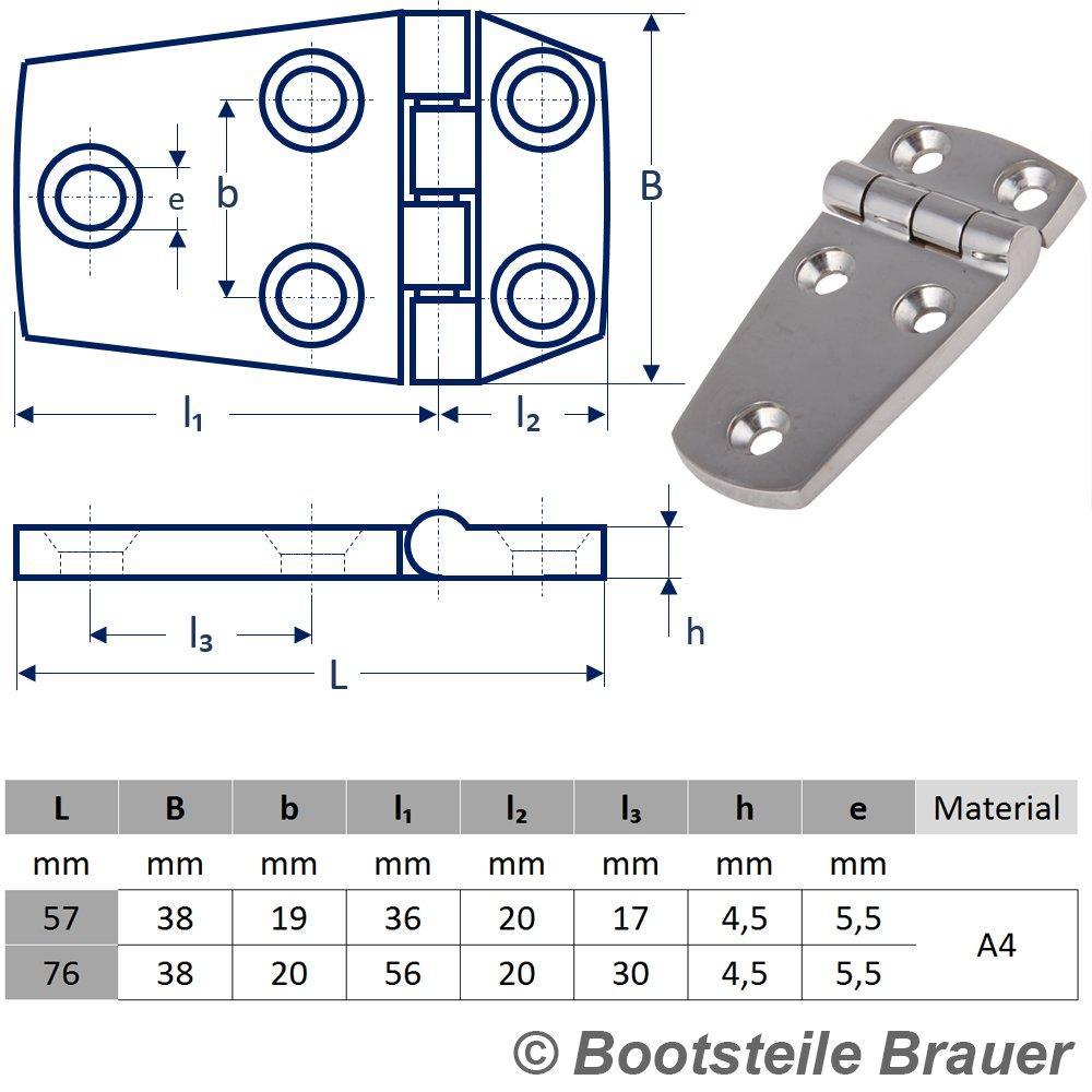 Edelstahl Scharnier PRISMA 38 x 56 mm Edelstahlscharnier Edelstahl A4 T/ürscharnier Beschlag T/ürscharnier