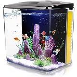 FREESEA 1.4 Gallon Aquarium Starter Kits, Aquariums Square Betta Fish Tank with LED Light and Filter Pump