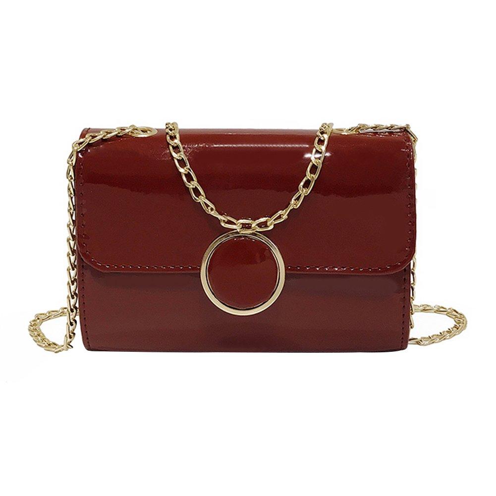 Shoulder Bag,Starlit Faux Leather Women Bag Crossbody Shoulder Bag with Chain Handle (Red)