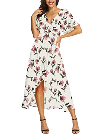 00b8d159ac55b Azalosie Wrap Maxi Dress Short Sleeve V Neck Floral Flowy Front Slit High  Low Women Summer Beach Party Wedding Dress at Amazon Women's Clothing store: