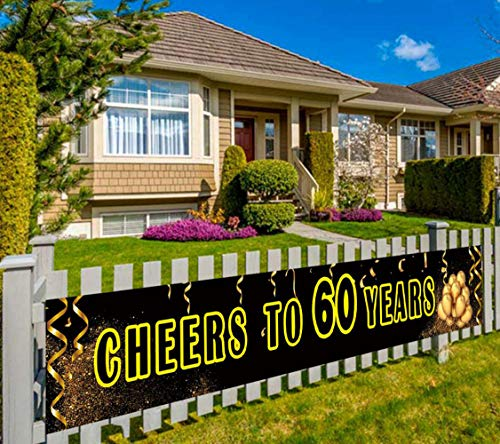 Huge 60th Birthday Banner, 60th Birthday Party Supplies Decorations, Large 60 Years Anniversary Sign, Cheers to 60 Years (9.8 x 1.5 feet)