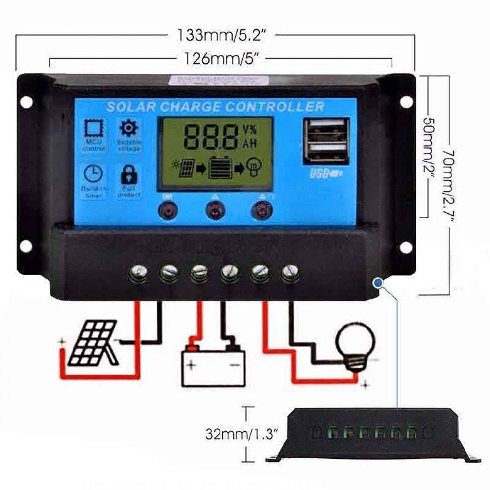overcurrent Protection JZK 20A 12V//24V Intelligent Solar Panel Charge Controller with LCD Display /& USB Port Solar Charge Regulator for Solar Panel Battery lamp LED Lighting