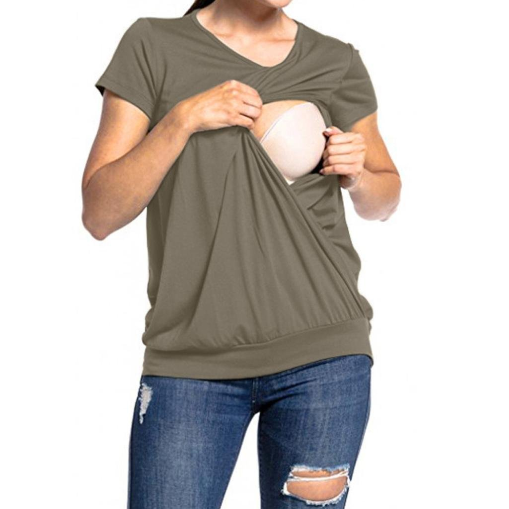 T-shirt Elegant And Graceful Wrap Top Quality Maternity Pregnancy Breastfeeding Top Size S Deep