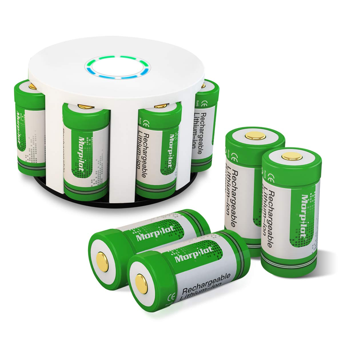 Morpilot RCR123A Batteria, CR123A Ricaricabile 3.7V 700mAh 8PCS per Fotocamera Arlo, Caricare 500 Volte Riutilizzabile, Professionale per Fotocamera Arlo VMS3030/3130/3230/3330/3430