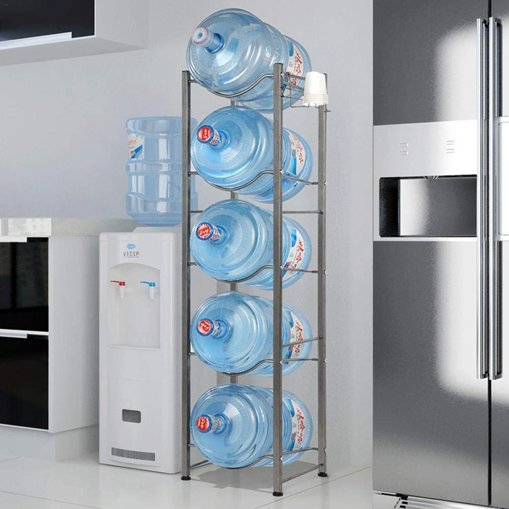 3-Tier with Floor Protection Kit Silver,Stainless Steel Heavy Duty Water Cooler Jug Rack Easy to Setup Home/Kitchen/Store Room, Etc. by Wustrious