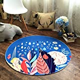 Interior carpet Round Area Rug, Country Style Carpet Computer Chair Swivel Chair Pad Living Room Bedroom Coffee Table Study Basket Carpet blanket ( Color : A , Size : ROUND-160CM )