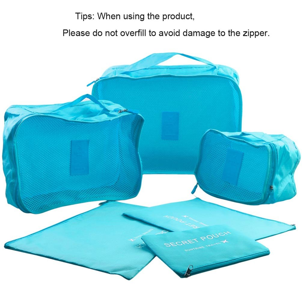 8852a3b92c9c Packing Cubes - WantGor 6pcs Sets Travel Storage Bag Organizer Luggage  Compression Pouches (6Set Blue)