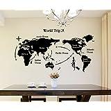 Decals Design 'World Map' Wall Sticker (PVC Vinyl, 90 cm x 60 cm, Black)