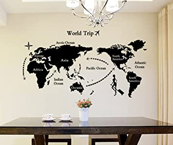 Decals Design U0027World Mapu0027 Wall Sticker (PVC Vinyl, 90 Cm X 60