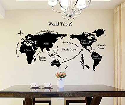 Decals design world map wall sticker pvc vinyl 90 cm x 60