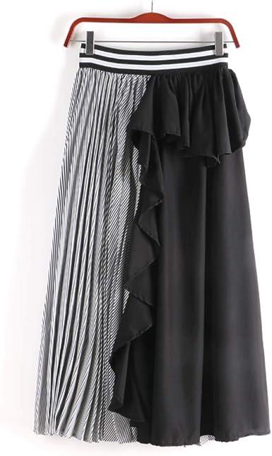 Faldas para Mujer High Street Fashion Ruffle Patchwork a Rayas ...