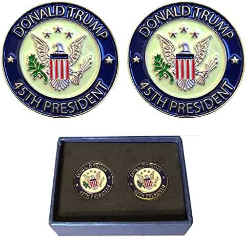 Pack of 2 Pins - Donald Trump 45th President Lapel Pin Hat Tac - Trump Pin, Inauguration Gift, Gift Box
