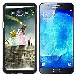 TECHCASE---Cubierta de la caja de protección para la piel dura ** Samsung Galaxy A8 ( A8000 ) ** --Lluvia de meteoros Arte Cielo Nocturno Hermanas Estrella
