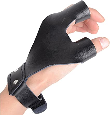 Archery Protect Glove Gear Finger Hand Guard for Bow Shooting Hunting Black