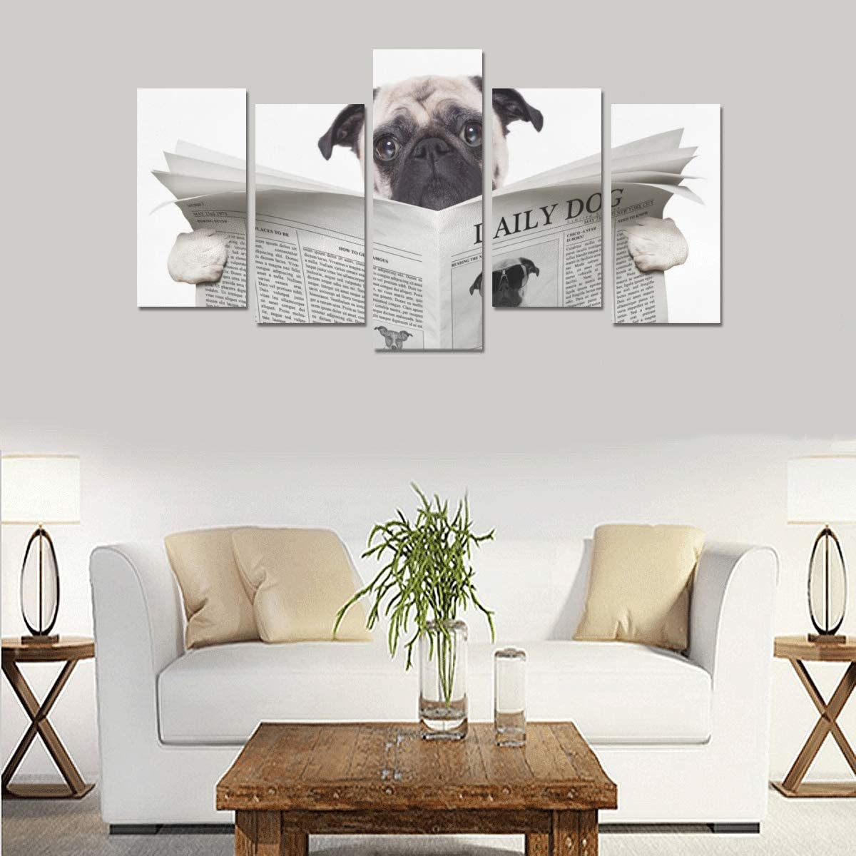 Frameless Dog Newspaper Posters Canvas Painting Wall Art Picture Home Decoration