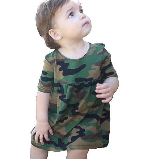 654e19c52256 Amazon.com  TheFound Kids Baby Girls  Bodysuit Dress Army Green ...