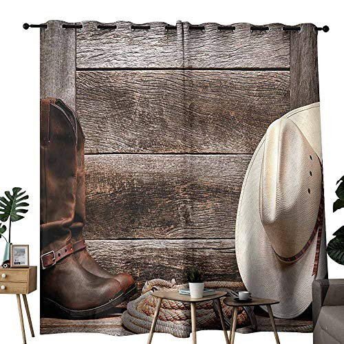 duommhome Western Decor Simple Modern Style Curtain Americana Rodeo Fashion White Straw Hat Original Lariat Lasso and on Barn Suitable for Living Room Bedroom W84 xL96 Tortilla Brown