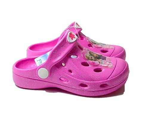 fotos oficiales f0056 59046 Frozen Disney Zuecos Tipo Crocs Color Rosa o Fucsia Acabado ...