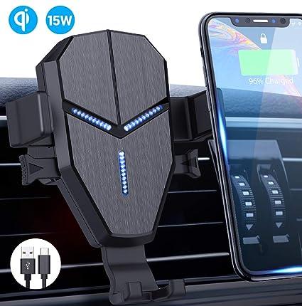 Qi Cargador Inalámbrico Coche,Avolare Carga Rápida Soporte Móvil Automático 15W LG,10W Samsung S10/S10+/S9/S9+/S8/S8+/s7,7.5W iPhone 11/11 Pro/11Pro ...