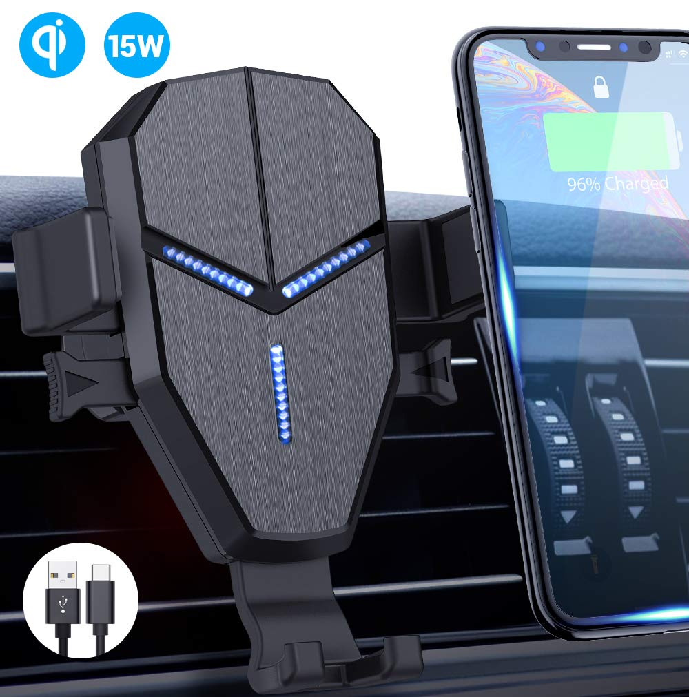 iPhone Xs Max//XR//X//8// Heiyo Qi 10W//7.5W Fast Charging Automatic Clamp Car Holder Dashboard Air Vent Car Charger Holder Compatible for Samsung S10//S9//S9+//S8//Note 8 Black Wireless Car Charger Mount