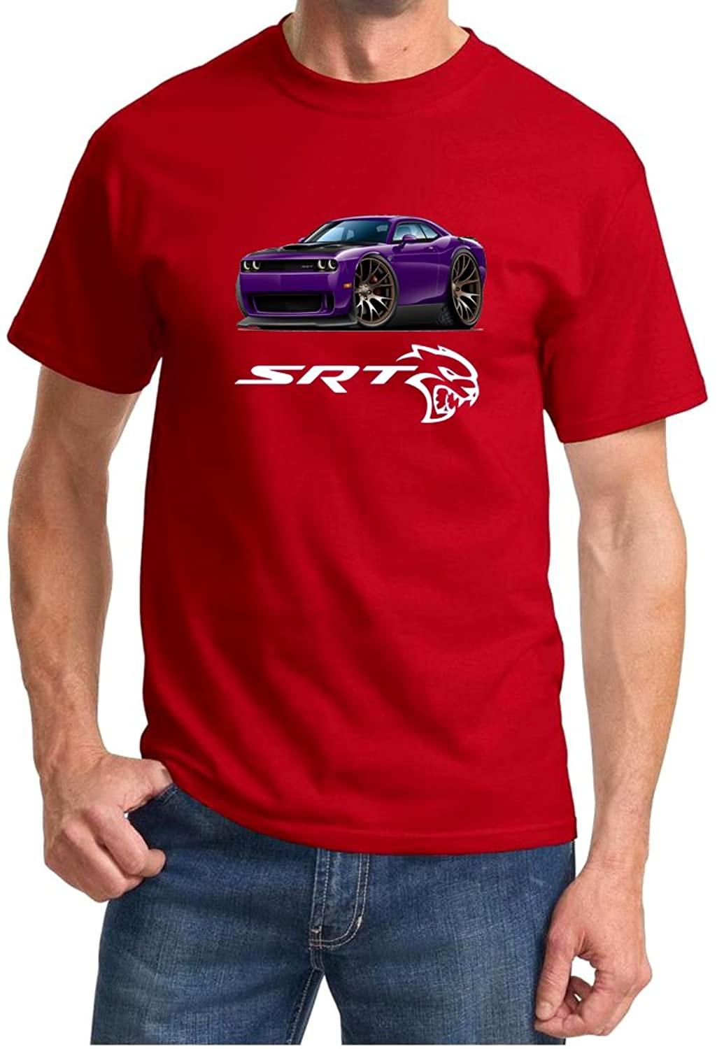 Dodge Challenger Hellcat Purple Muscle Car-toon Tshirt XL Purple