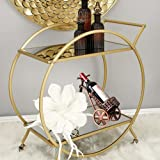 HEONITURE Bar Cart with 2 Mirrored Shelves, Modern Metal Bar Serving Cart, Gold Round Bar Carts for The Home/Kitchen/Club/Liv