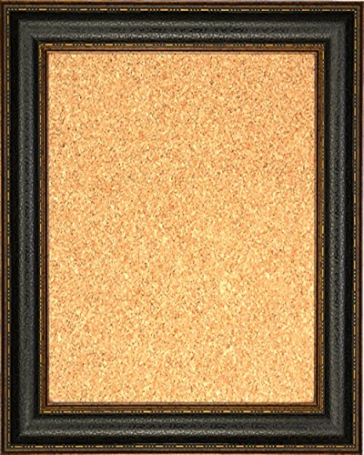 Framed Cork Board 24'' x 36'' - with Black Leather Look Design Frame by Art Oyster