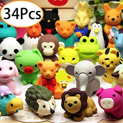 34Pcs Animal Erasers Bulk Mini Pencil Erasers Anime Cute Non-Toxic Removable Assembly Puzzle Kids Erasers for Party Favors,ClassroomStudents Prizes,Carnival Gifts and School Supplies Gift: Office Products