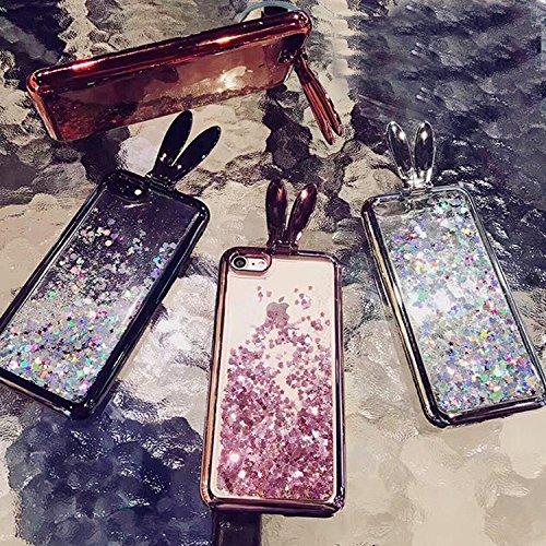 Vandot iPhone 5 5s SE | Funda Carcasa con Orejas de Raton | TPU en Transparente + muticolor | 3D Cute Cartoon Diamante Crystal Mouse Ears Case Cover Protector Smartphone Móvil Accesorio - Negro Rabbit 01