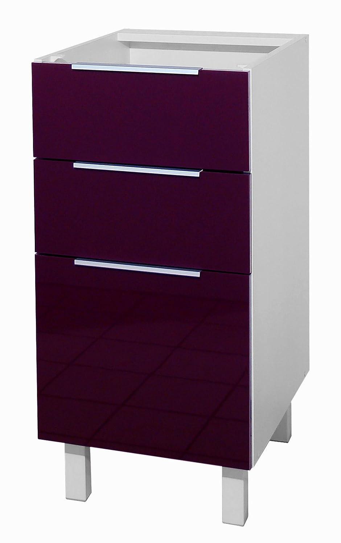 Berlenus Ct4ba Mobile Da Cucina Basso 3 Cassetti 40 Cm Colore  # Mobiletto Cucina Color Melanzana