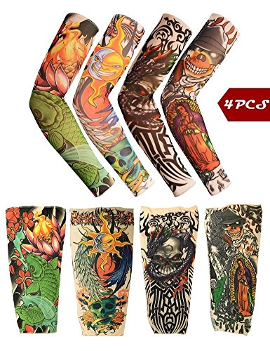 Toolai Unisex Fake Tattoo Sleeves, Bright Series(Pack of 4), Skulls Lotus Dragon (Blue Ninja Turtle Name)