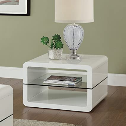 Coaster Home Furnishings 703267 End Table With 2 Shelves, Glossy White