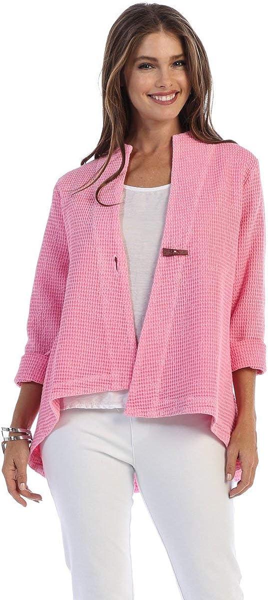 Focus Fashion Womens Lightweight Cotton Waffle Knit Swing Jacket SW-206