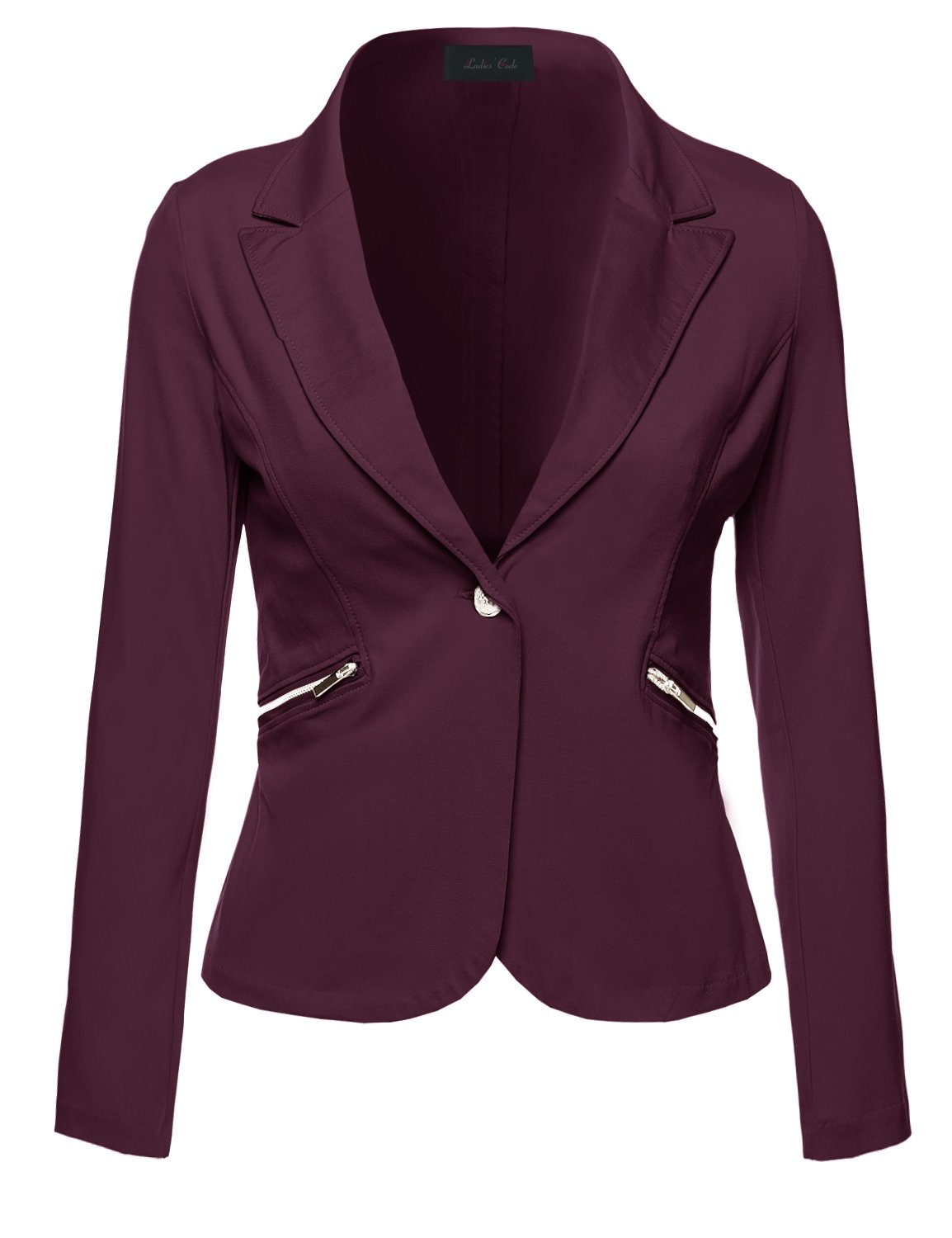 Ladies' Code Business Office Wear Long Sleeve One Button Fly Blazer Burgundy L Size