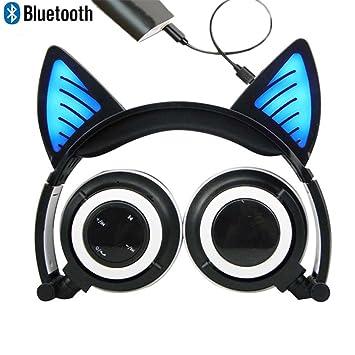 Bluetooth MIC auriculares inalámbricos recargables auriculares de gato plegable ajustable flash azul auriculares de luz para