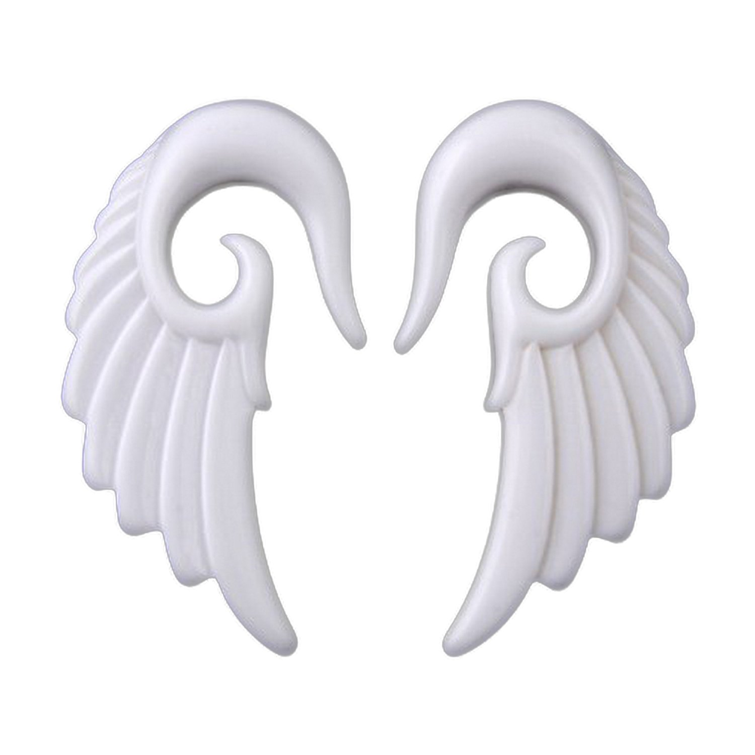 JewelryVolt Pair White Acrylic Angel Wing Design Ear Taper Plugs Gauges - 4G