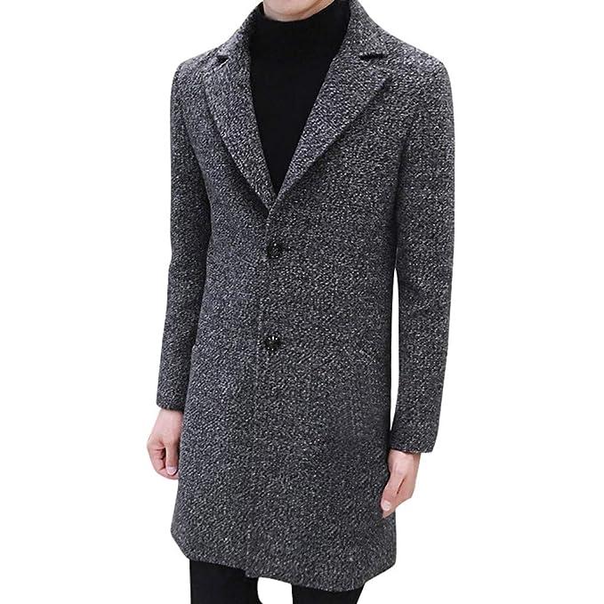 JiaMeng Moda Formal Un Solo Botonadura Abrigo Chaqueta de Lana Larga Outwear Plus Chaqueta Hombre Invierno Abrigo Hombre Parka Ofertas: Amazon.es: Ropa y ...