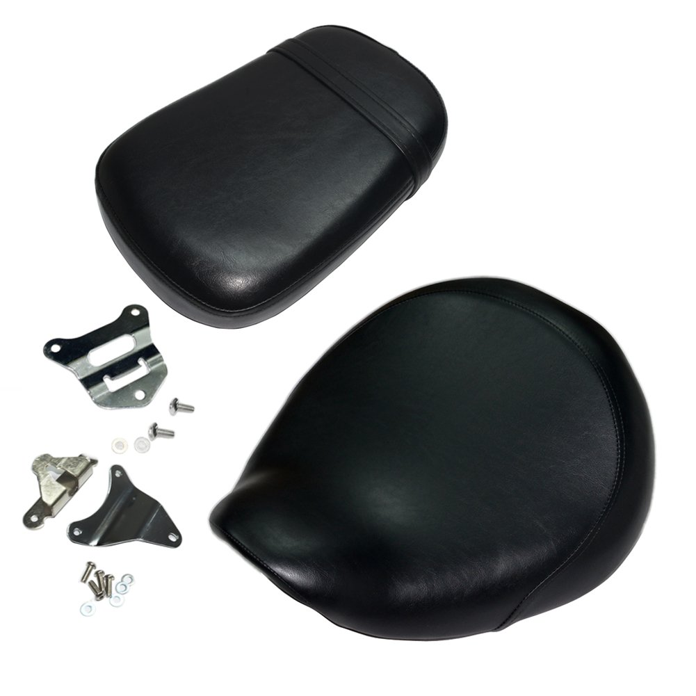 Front and back 2PCS Black Motorcycle Rear Passenger Cushion Seat +Front Driver Cushion Seat For Honda Shadow VT750 VT-750 VT750C VT-750C VT750CD VT-750CD 1998-2003 1999 2000 2001 2002 98-03 Beautyexpectly