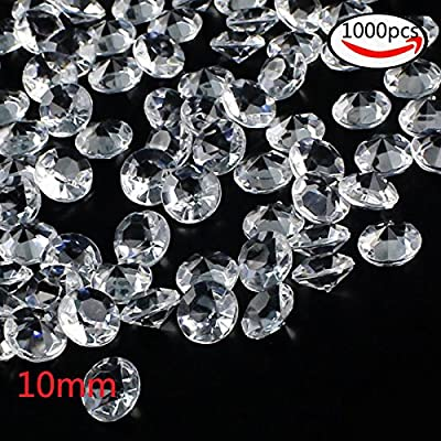 Outuxed 1000pcs Clear Wedding Table Scattering Crystals Acrylic Diamonds Wedding Bridal Shower Party Decorations Vase Fillers, 10mm, with 1 Large Velvet Pouch