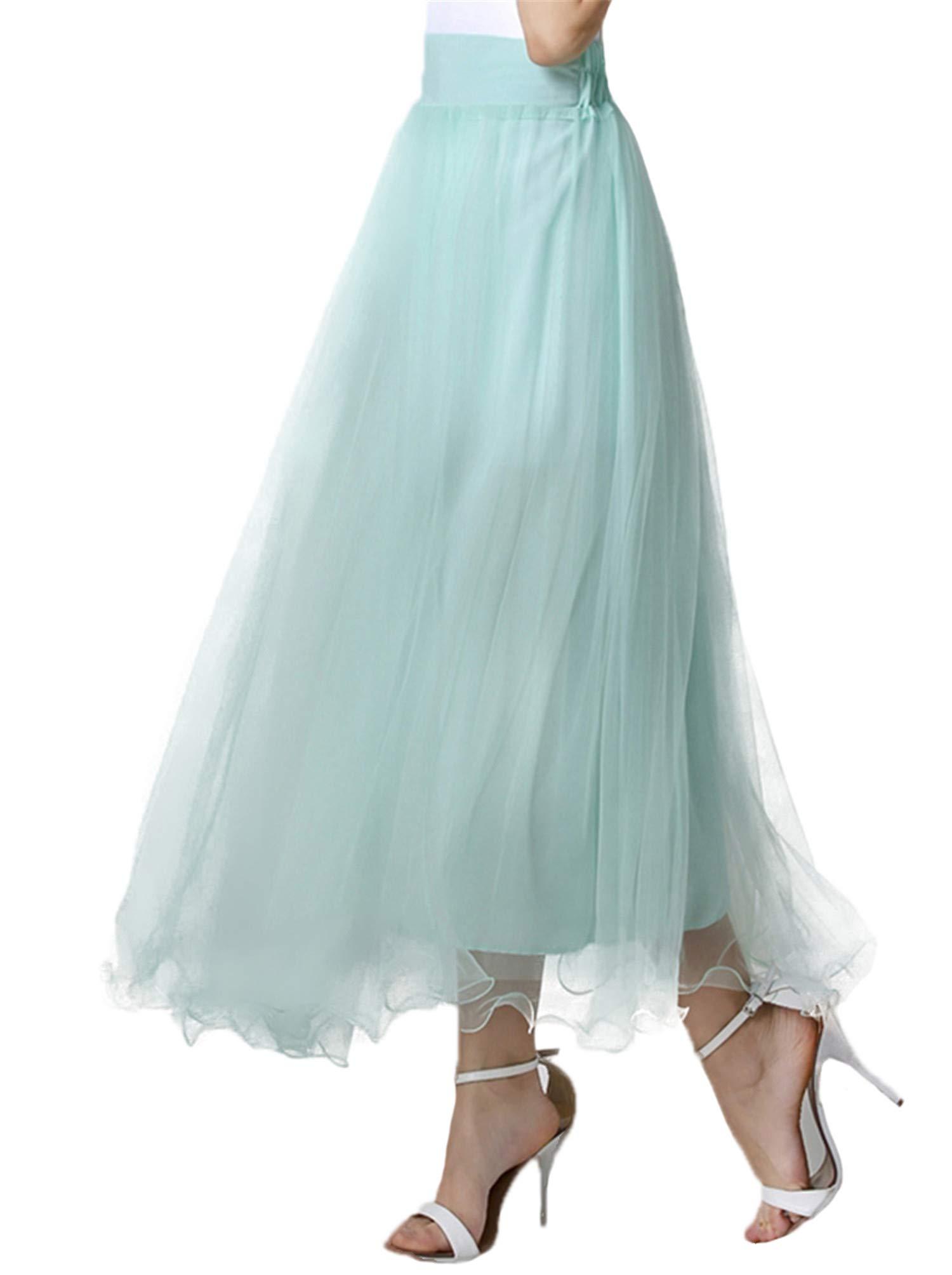 Long Skirt,Women Elastic Waist Floor Length Full Ankle Blending Summer Beachwear Dress Long Maxi Skirt (Medium, Mint)