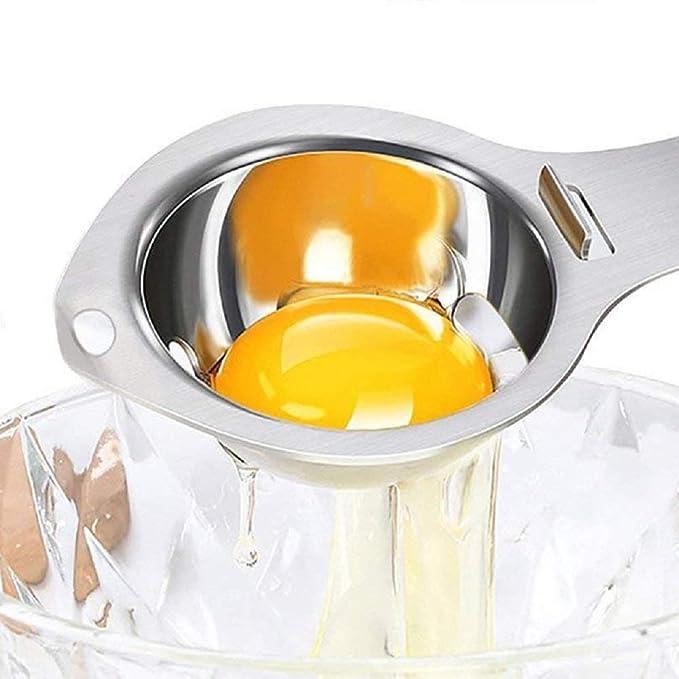 acero inoxidable Antioxidante Duradero Separador de yema de huevo Soporte de filtro Herramienta de cocina con orificio para colgar Separador de clara de huevo