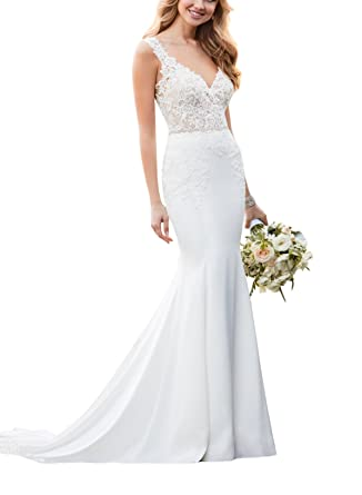 42c7185a5292 Doramei Women s Double V-Neck Sheath Lace Satin Button Back Simple Spring  Long Beach Wedding Dress at Amazon Women s Clothing store