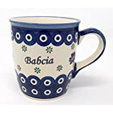 Babcia - Grandma Mug from Polish Pottery - Blue Eye with Flowers