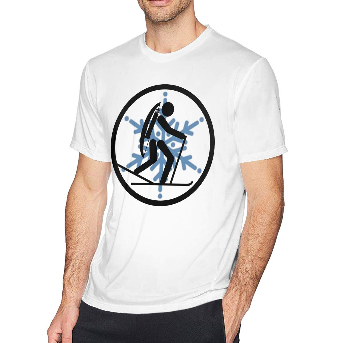 Casual Shirt for Men Teenagers Cross-Country Skiing Mens Shirt Short Sleeve T-Shirt