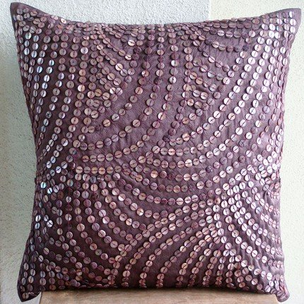 Handmade Purple Pillow Covers, Mother Of Pearls Pillow Cover, 16