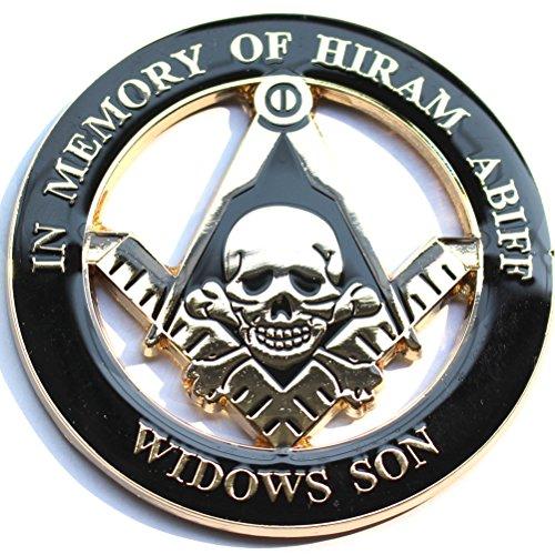 Masonic 'In Memory of Hiram Abiff' Skull Widow's Son Auto Emblem Car Decal 3