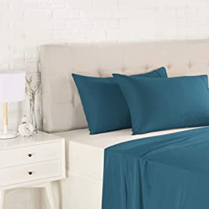 AmazonBasics Light-Weight Microfiber Pillowcases - 2-Pack, Standard, Dark Teal