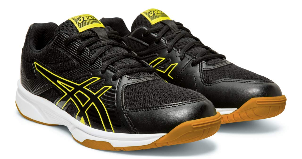 ASICS Upcourt 3 Men's Volleyball Shoes, Black/Sour Yuzu, 6 M US