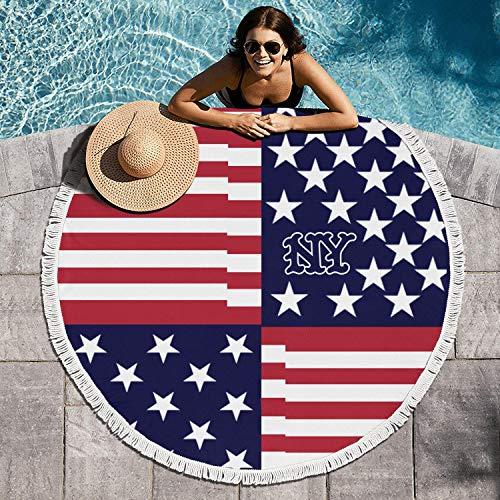 cuyde Round Beach Towel BlanketAmerican Flag New York cityRoundie Beach Throw Tapestry Mandala Microfiber Beach Tassels Super Water Absorbent Round Beach Blanket