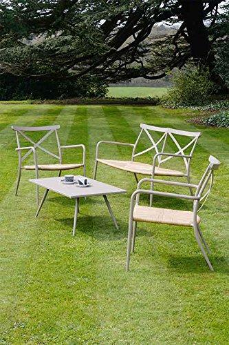 MY-Furniture - Salon de jardin taupe aluminium et rotin, 4 ...